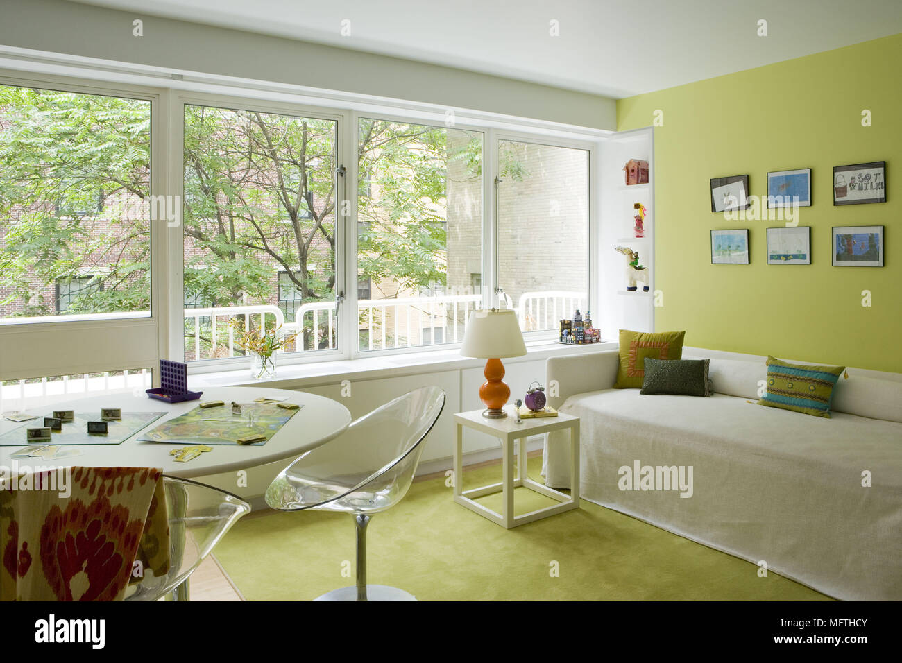 Living Room Bedroom Combo Ideas, Philippe Starck Eros Dining Chair At Dining Table In Modern Sitting Yellow Stock Photo Alamy