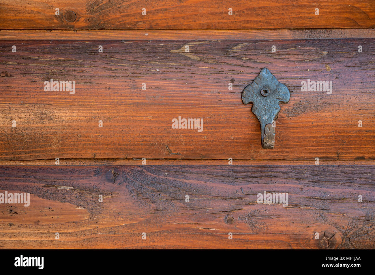 Coat hook on the wooden wall of a hovel in the garden Stock Photo ...