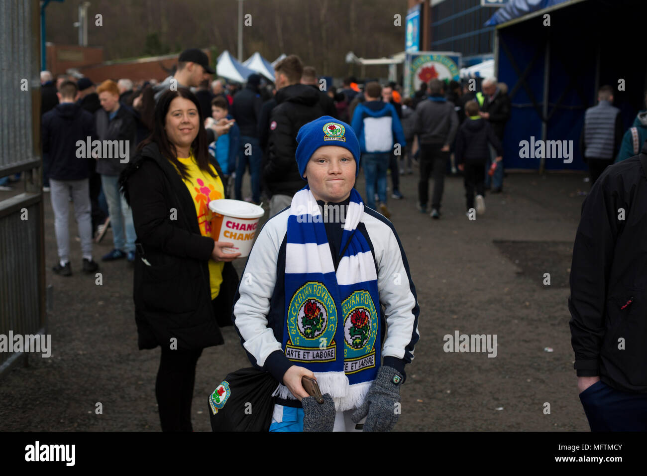 A fan walking round the ground before Blackburn Rovers played Shrewsbury Town in a Sky Bet League One fixture at Ewood Park. Both team were in the top three in the division at the start of the game. Blackburn won the match by 3 goals to 1, watched by a crowd of 13,579. - Stock Image