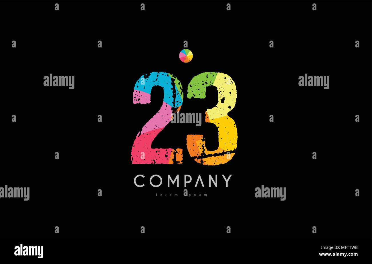 number 23 logo icon design with grunge texture and rainbow colored pattern - Stock Vector