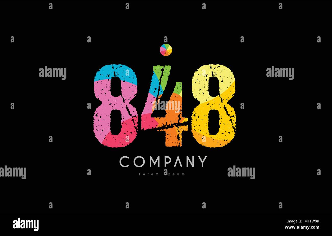 number 848 logo icon design with grunge texture and rainbow colored pattern - Stock Image