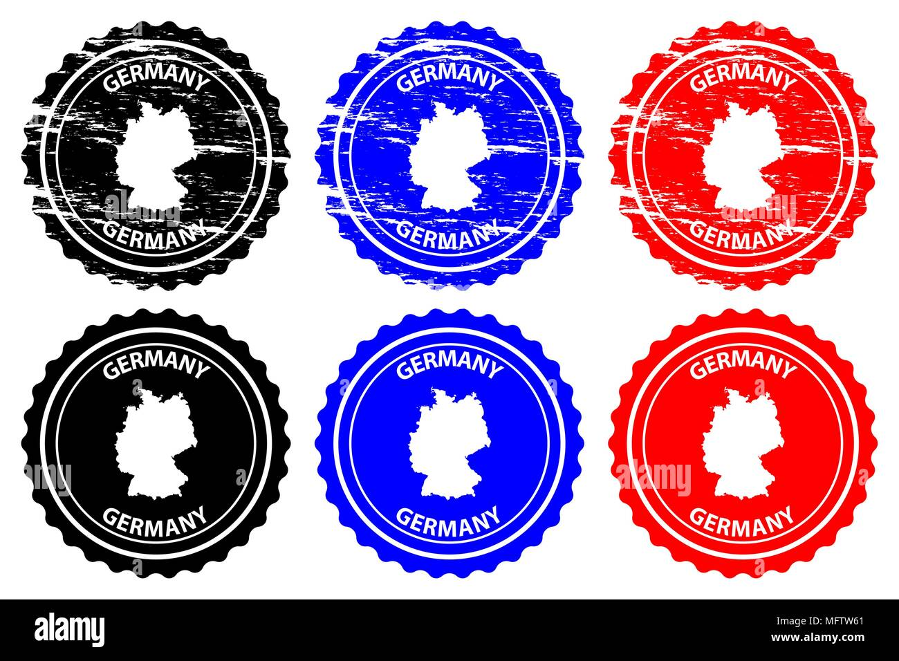Germany - rubber stamp - vector, Deutschland map pattern - sticker - black, blue and red - Stock Vector
