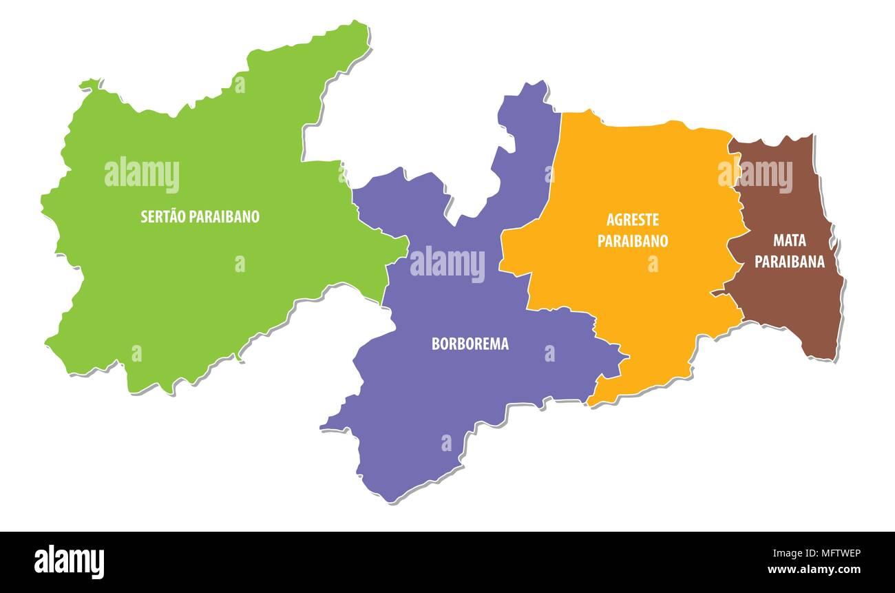 paraiba colorful administrative and political vector map Stock Vector