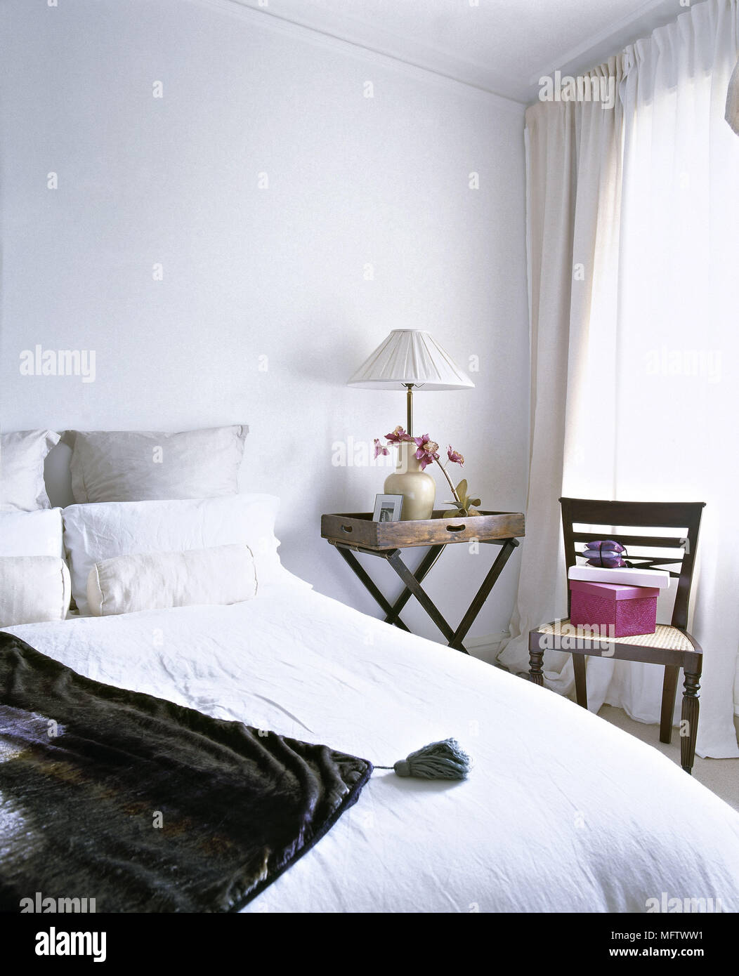 Excellent Double Bed In White Bedroom With Butler Tray Bedside Table Download Free Architecture Designs Itiscsunscenecom