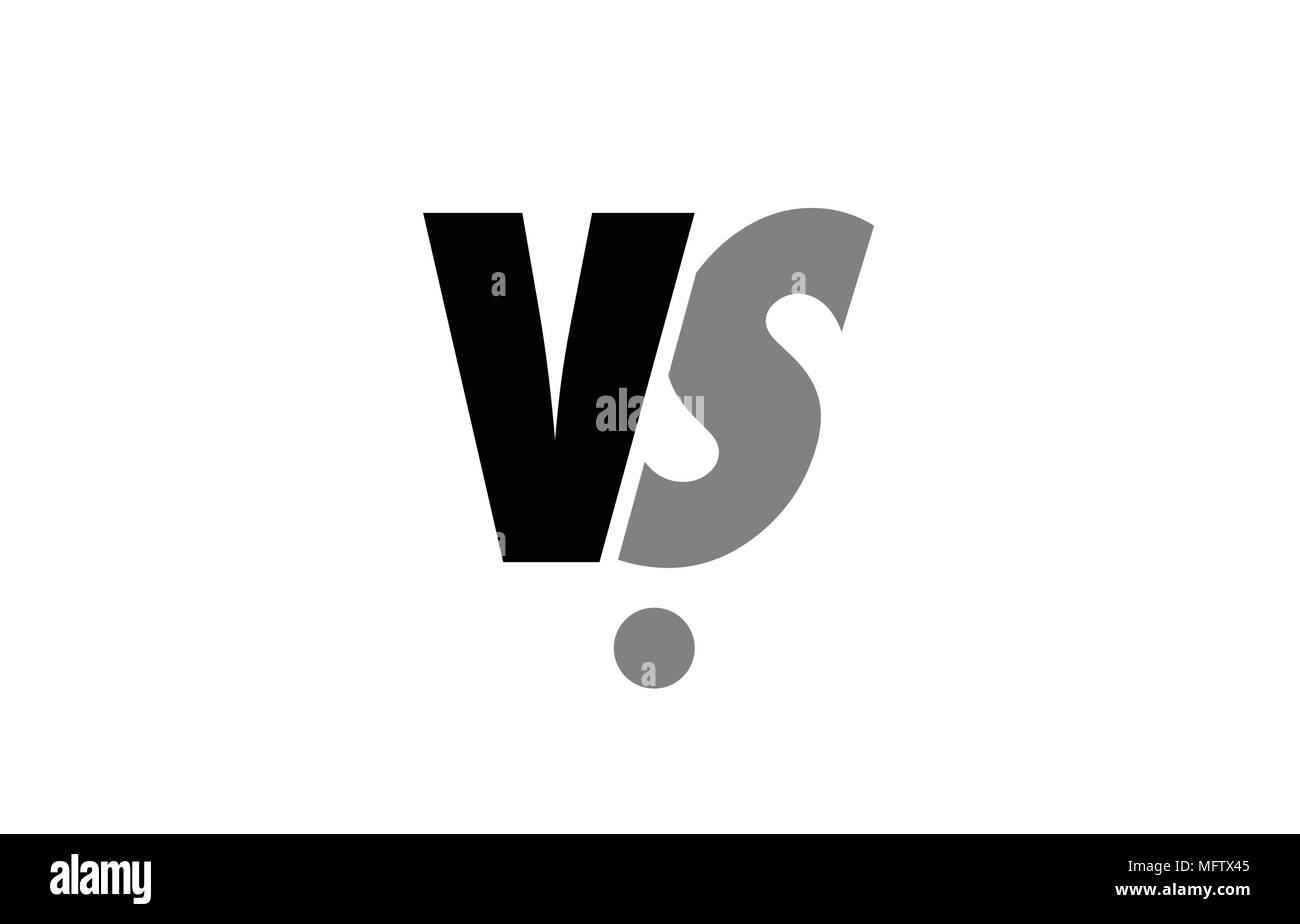 Creative Logo Icon Combination Of Alphabet Letter Vs V S In Black And Grey Isolated On White Background With Simple Efficient Design