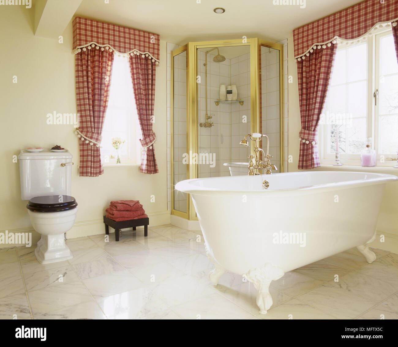 Period style freestanding bathtub next to contemporary shower ...
