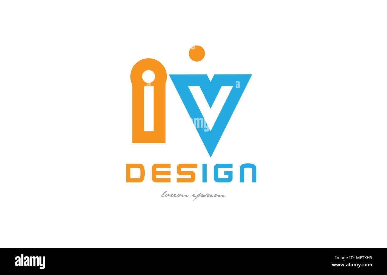 alphabet letter logo combination iv i v in orange and blue suitable for a business or company - Stock Vector