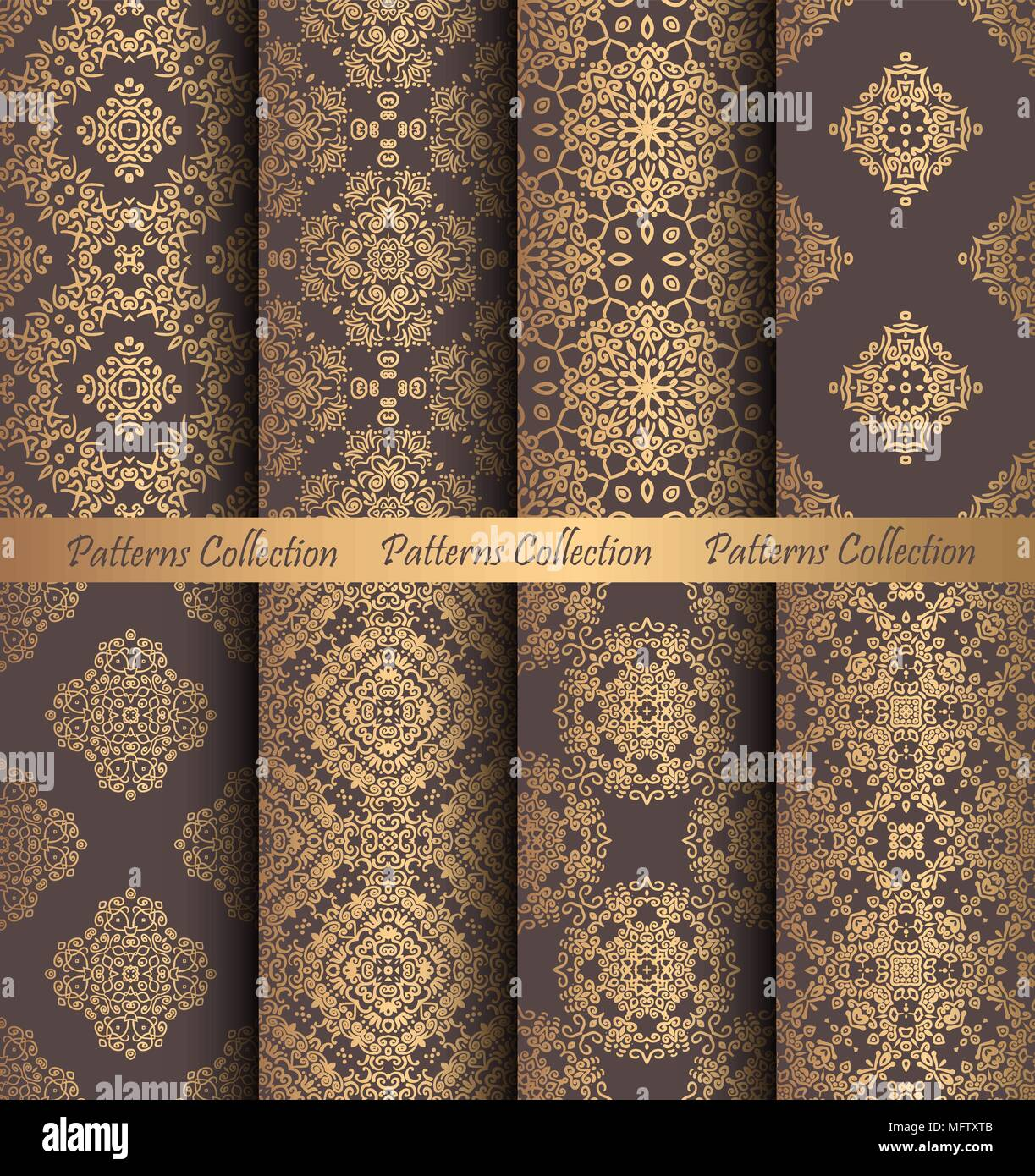 Luxury Seamless Patterns Collection Golden Vintage Design Elements Elegant Weave Ornament For Wallpaper Fabric Paper Invitation Print Stylized D