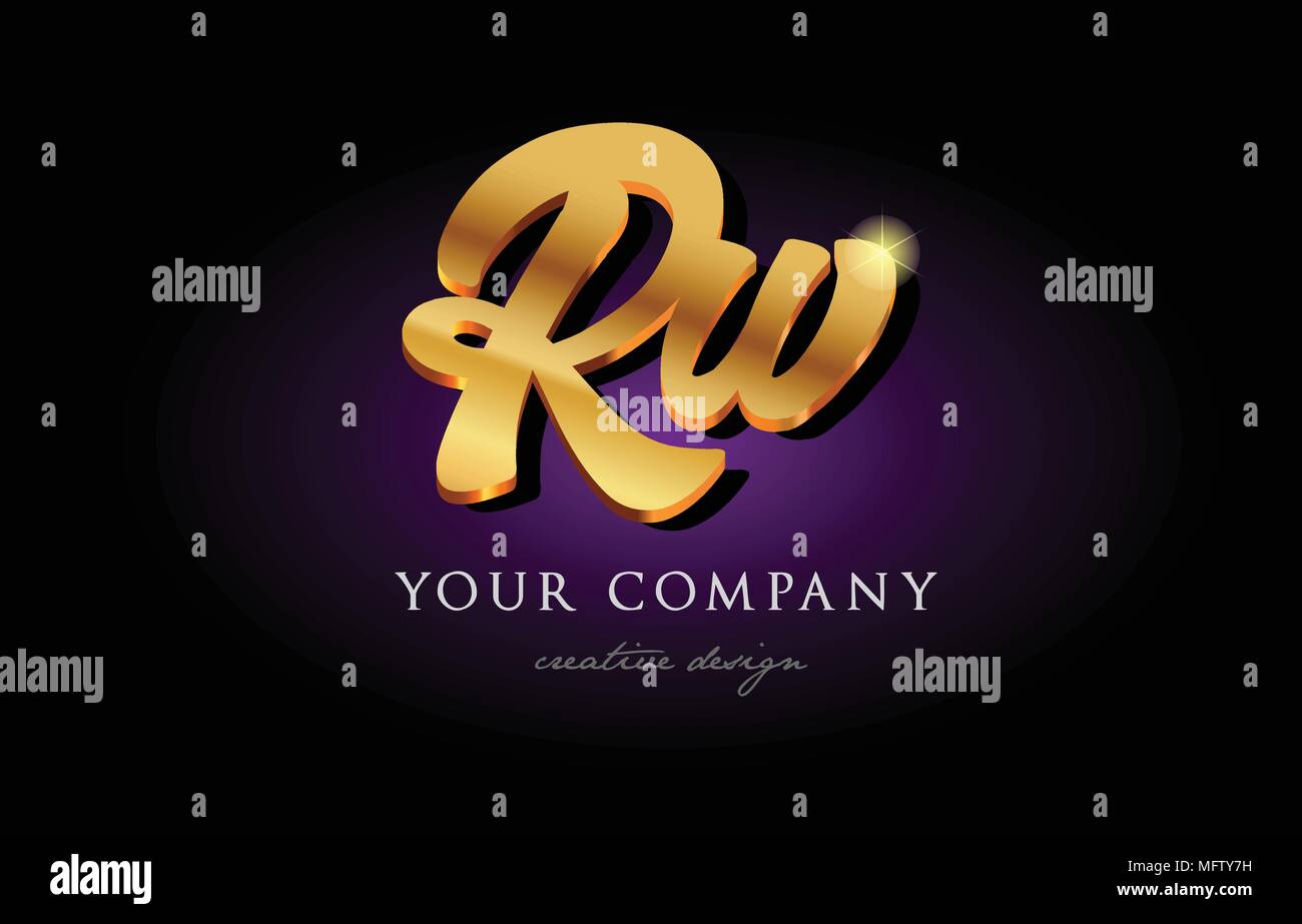 rw  r w alphabet combination letter logo in gold golden 3d metal beautiful typography suitable for banner brochure design - Stock Image
