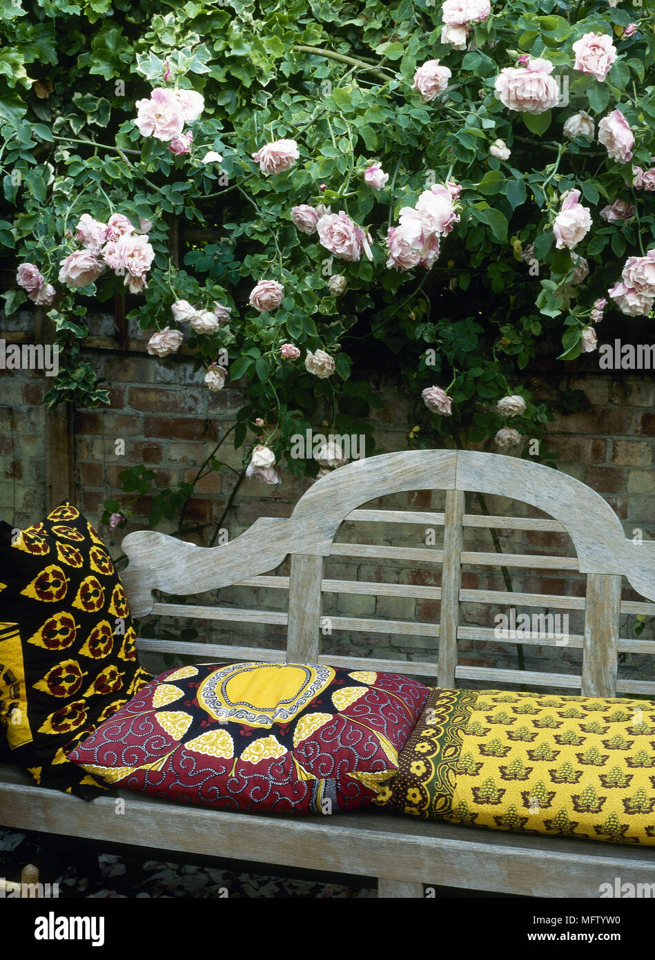 Wooden Garden Bench With Cushions Next To Garden Brick Wall With Climbing  Rose On Wall Fixed Trellis Gardens Detail Seating Rambling Roses