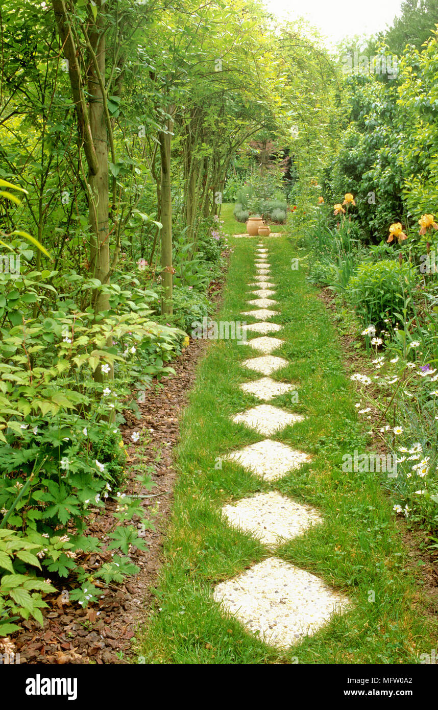Garden Path Stepping Stones Garden path with stone stepping stones and plantings of bearded iris garden path with stone stepping stones and plantings of bearded iris to the right workwithnaturefo