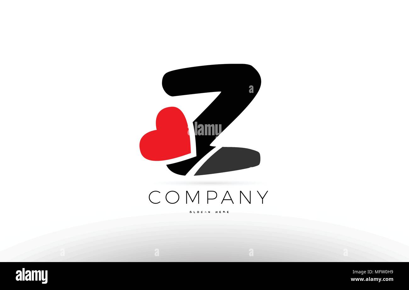 Company alphabet letter Z logo design with red love heart