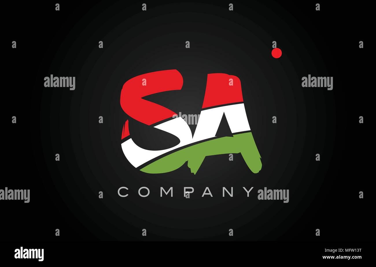 SA S A letter logo combination alphabet vector creative company icon design template modern - Stock Vector