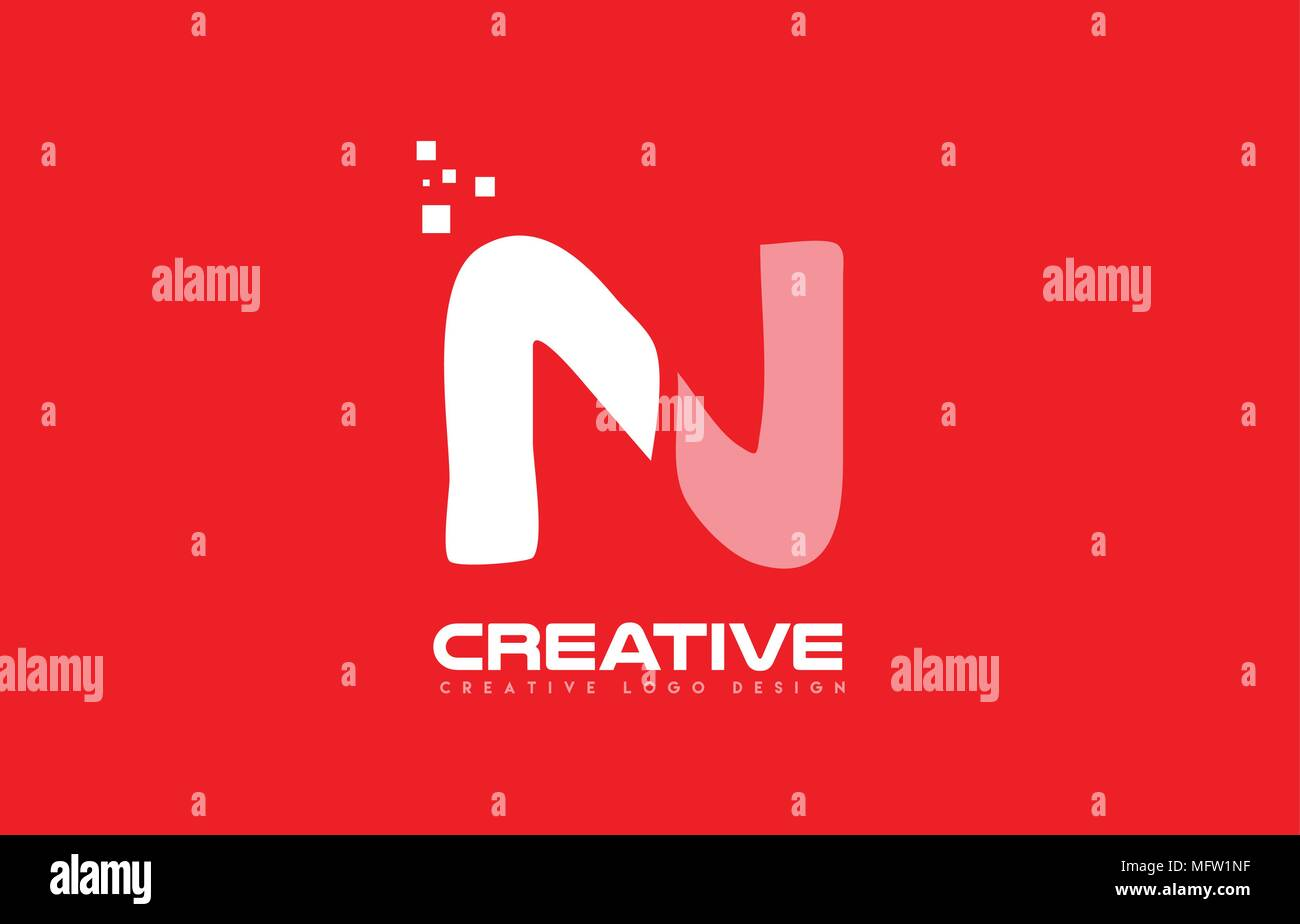 Letter N Alphabet Logo Icon Design In White Color Over A Red