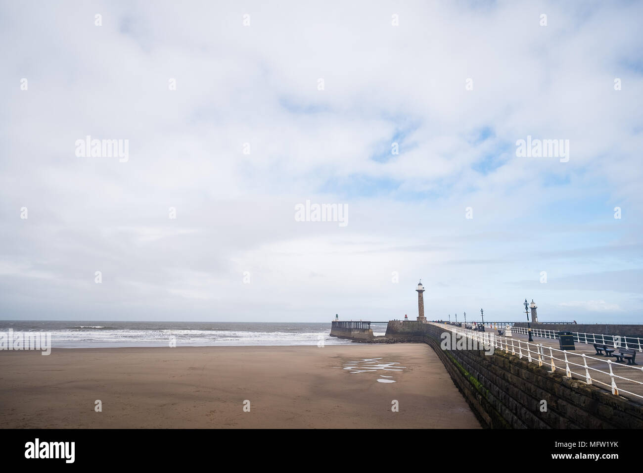 Whitby pier, North Yorkshire, UK - Stock Image