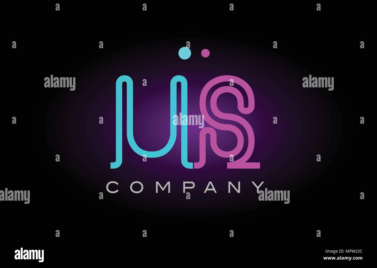 Alphabet us u s letter logo design combination with neon light effect in blue and pink color suitable for a company banner or branding purposes - Stock Vector