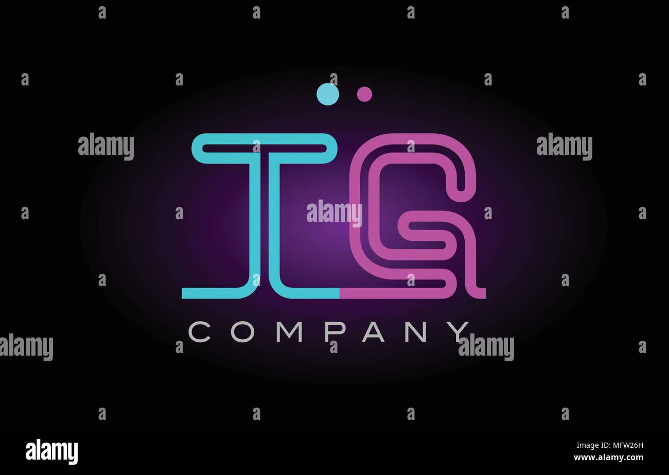 Alphabet Tg T G Letter Logo Design Combination With Neon