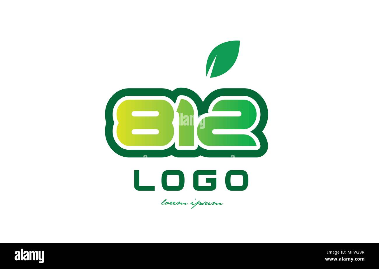Design of number numeral digit 812 with green leaf and color ...