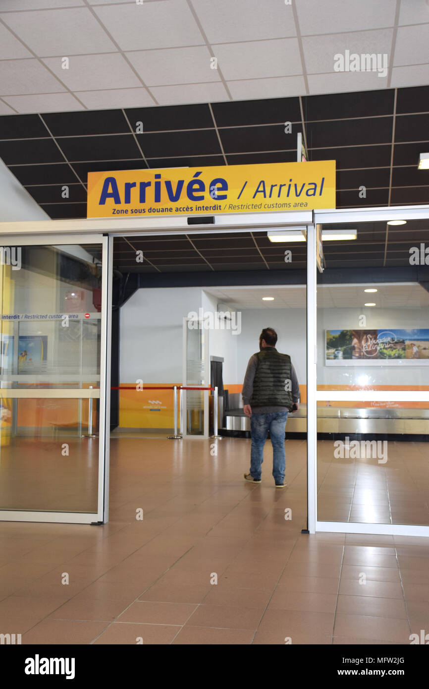 Beziers airport arrivals, SW France 2018 - Stock Image