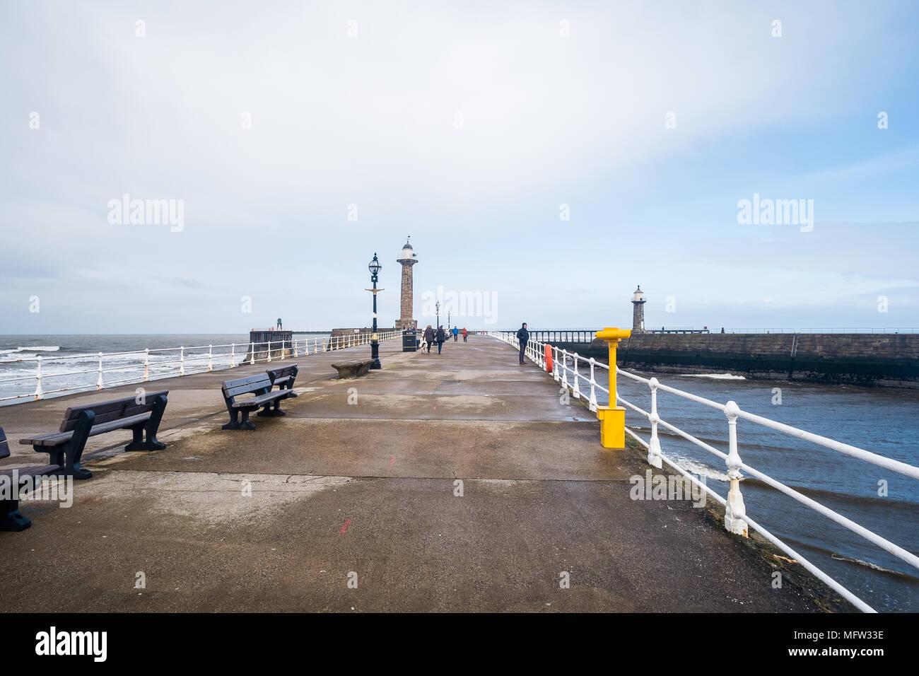 Whitby Pier, North Yorkshire, UK - Stock Image