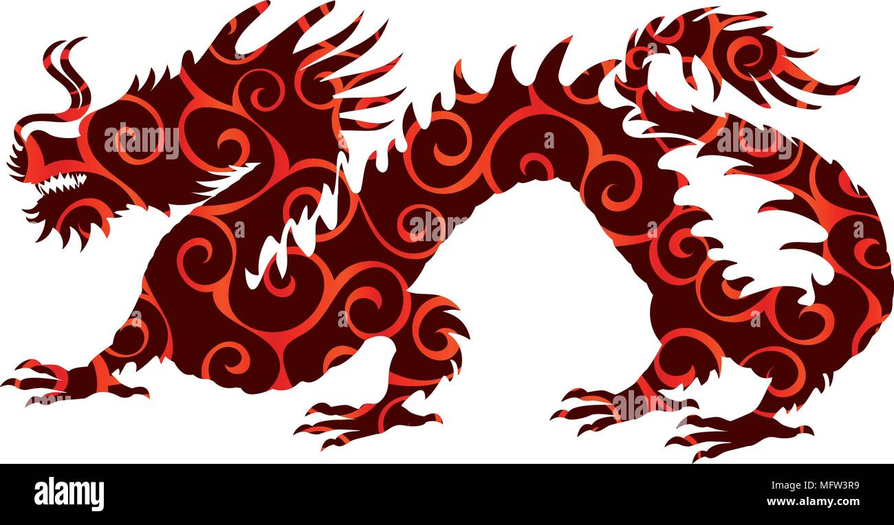Chinese Dragon Pattern Silhouette Symbol Traditional China Vector