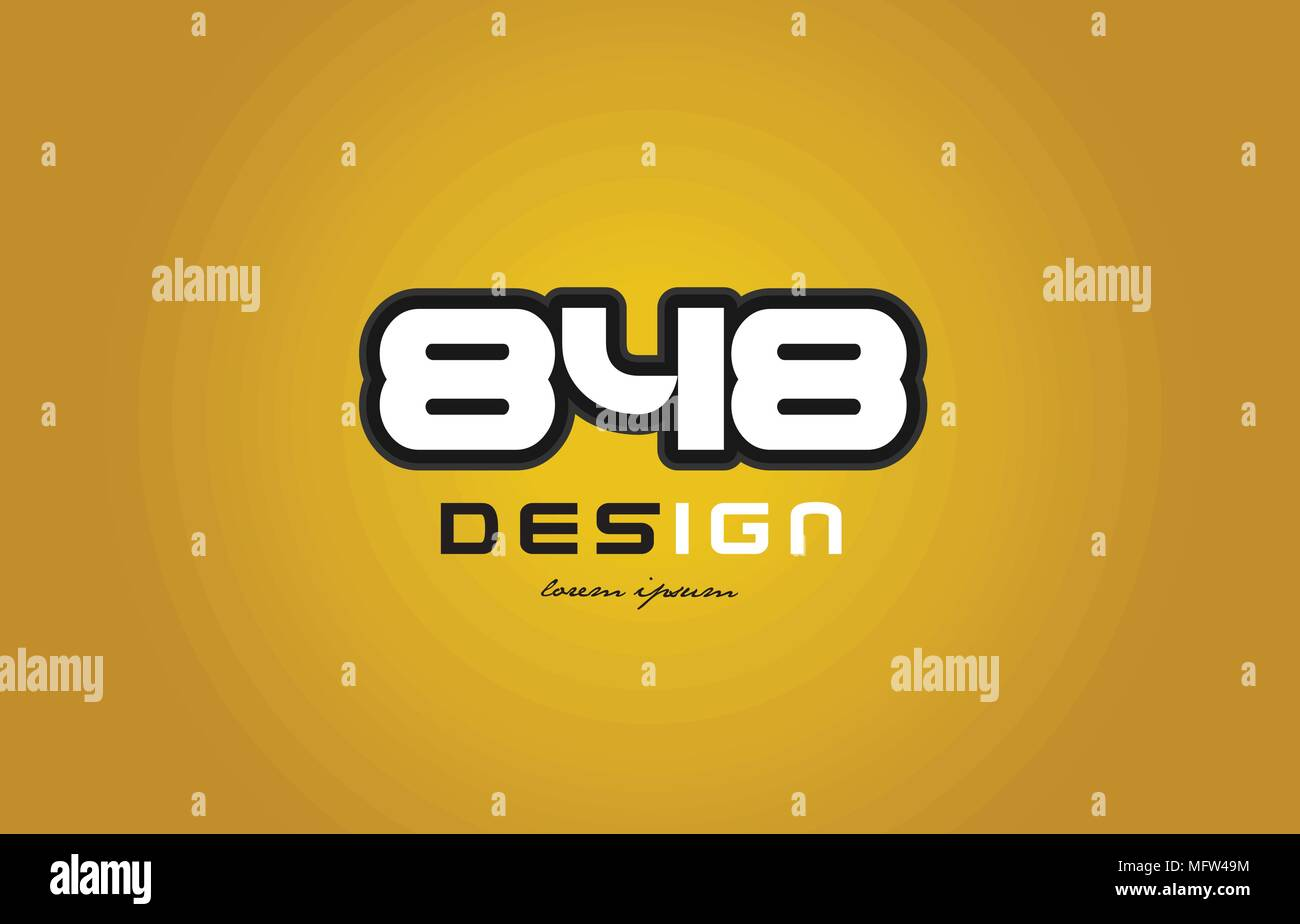 design of bold number numeral digit 848 with white color and black contour on yellow background suitable for a company or business - Stock Image