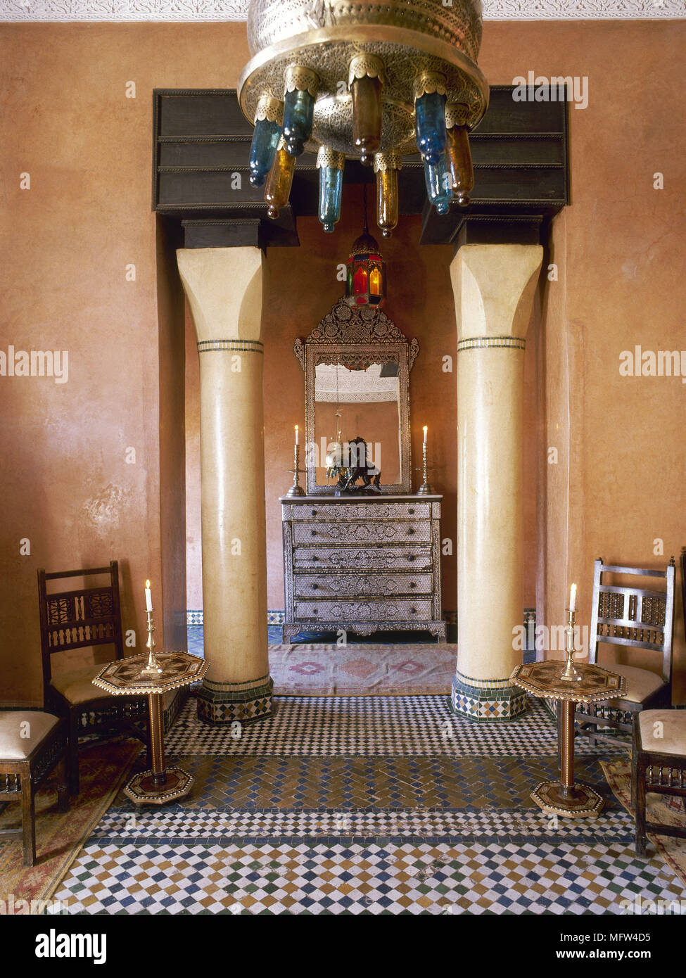 Arabic Style Terracotta Hallway With Mosaic Tile Floor And Marble