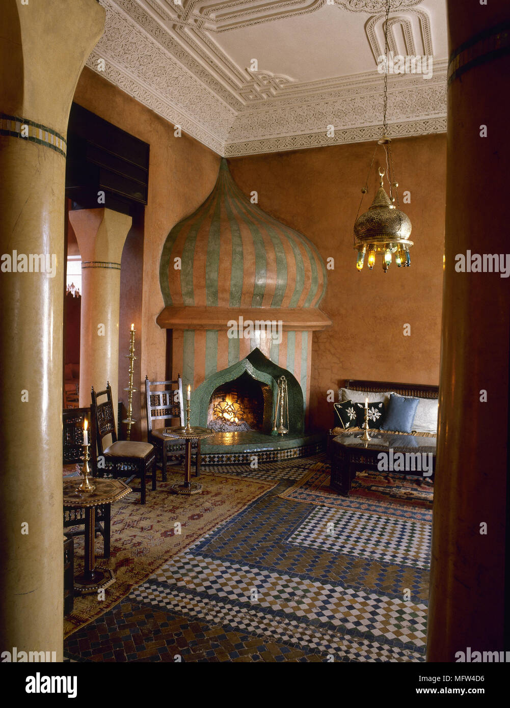 Magnificent Arabic Style Terracotta Sitting Room With Mosaic Tile Floor Home Interior And Landscaping Elinuenasavecom
