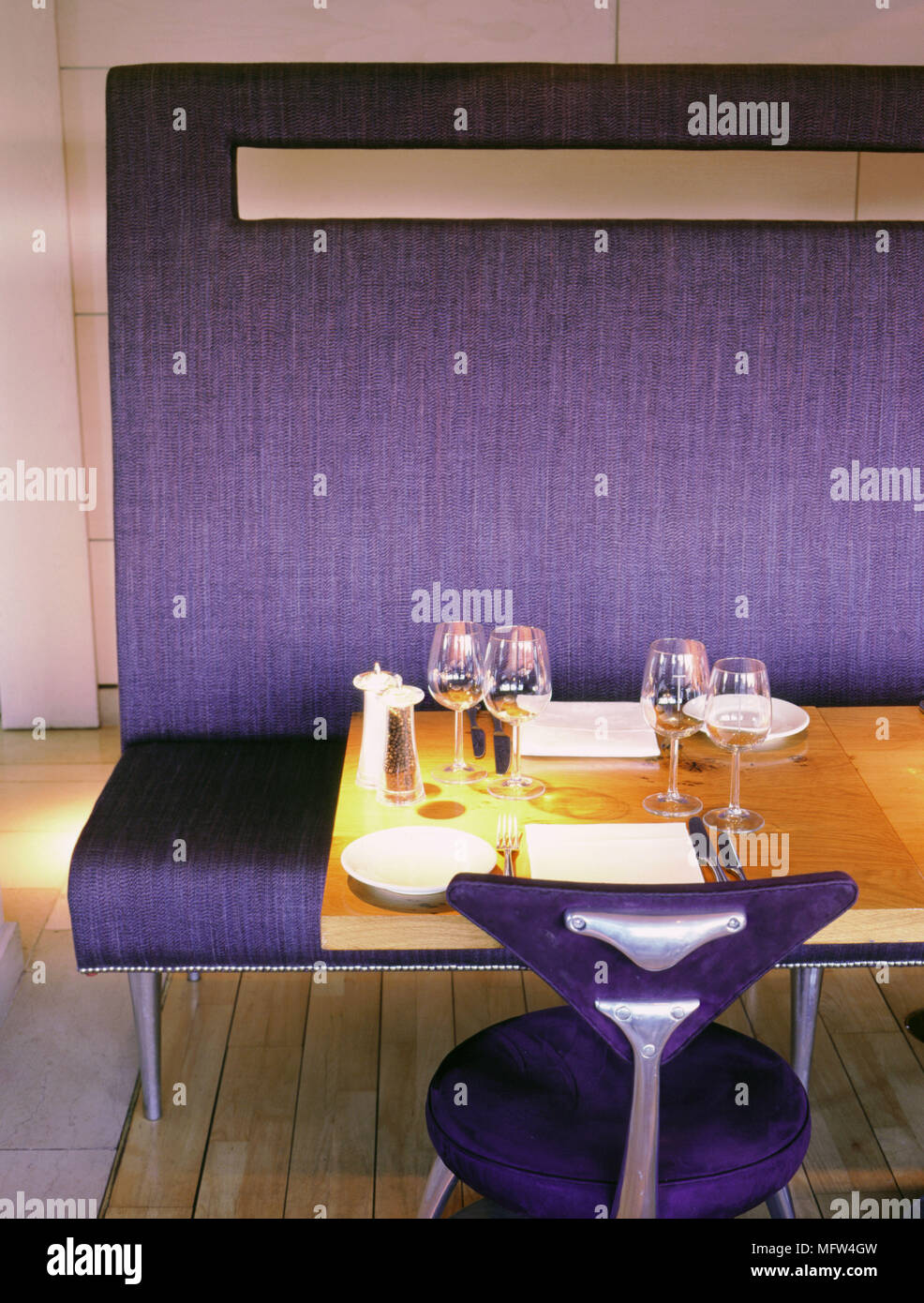 Detail Of A Table In The Tower Restaurant With Table Settings And Banquette Seating Stock Photo Alamy