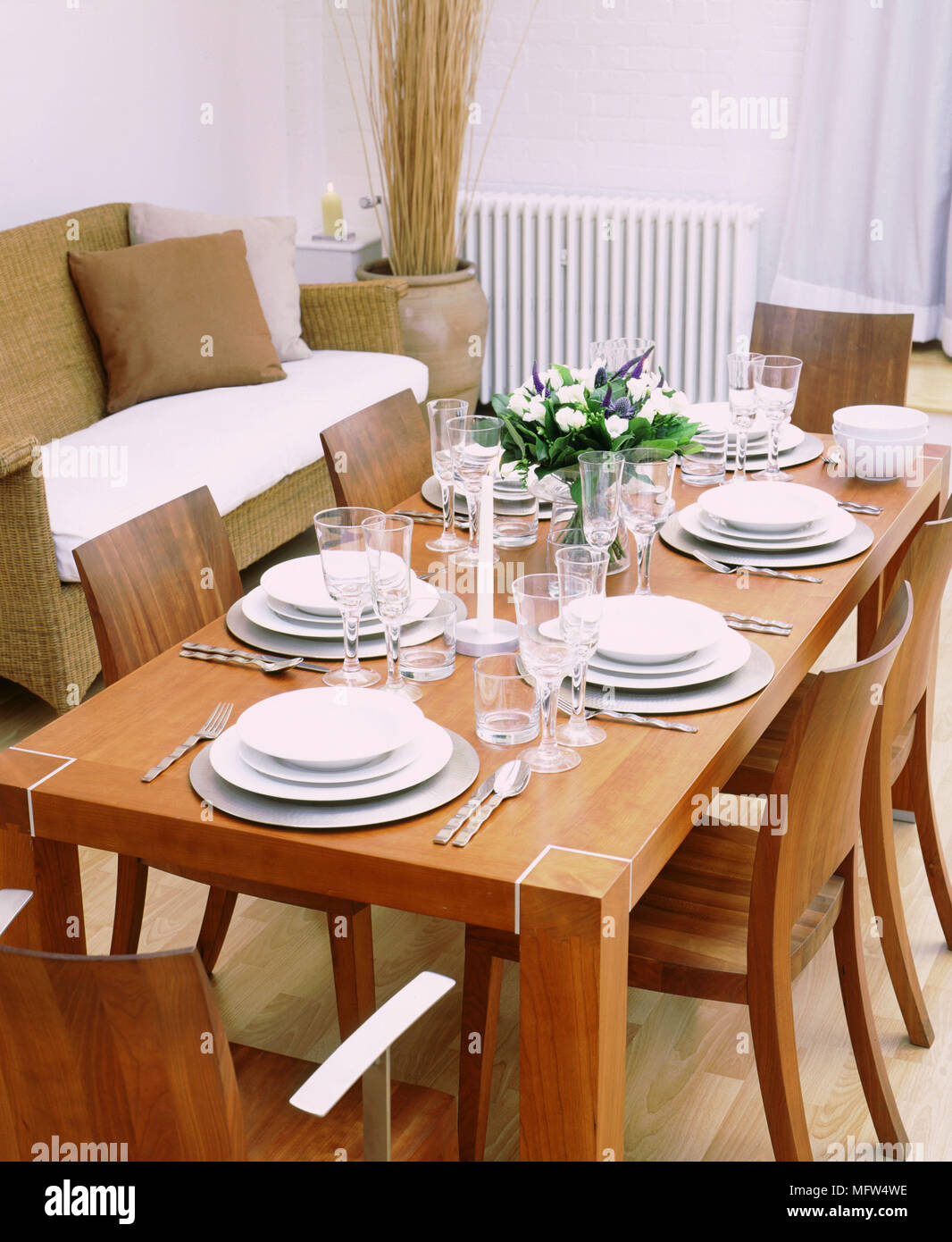 Modern Dining Room Detail Wood Table Chairs White Tableware Stock Photo Alamy