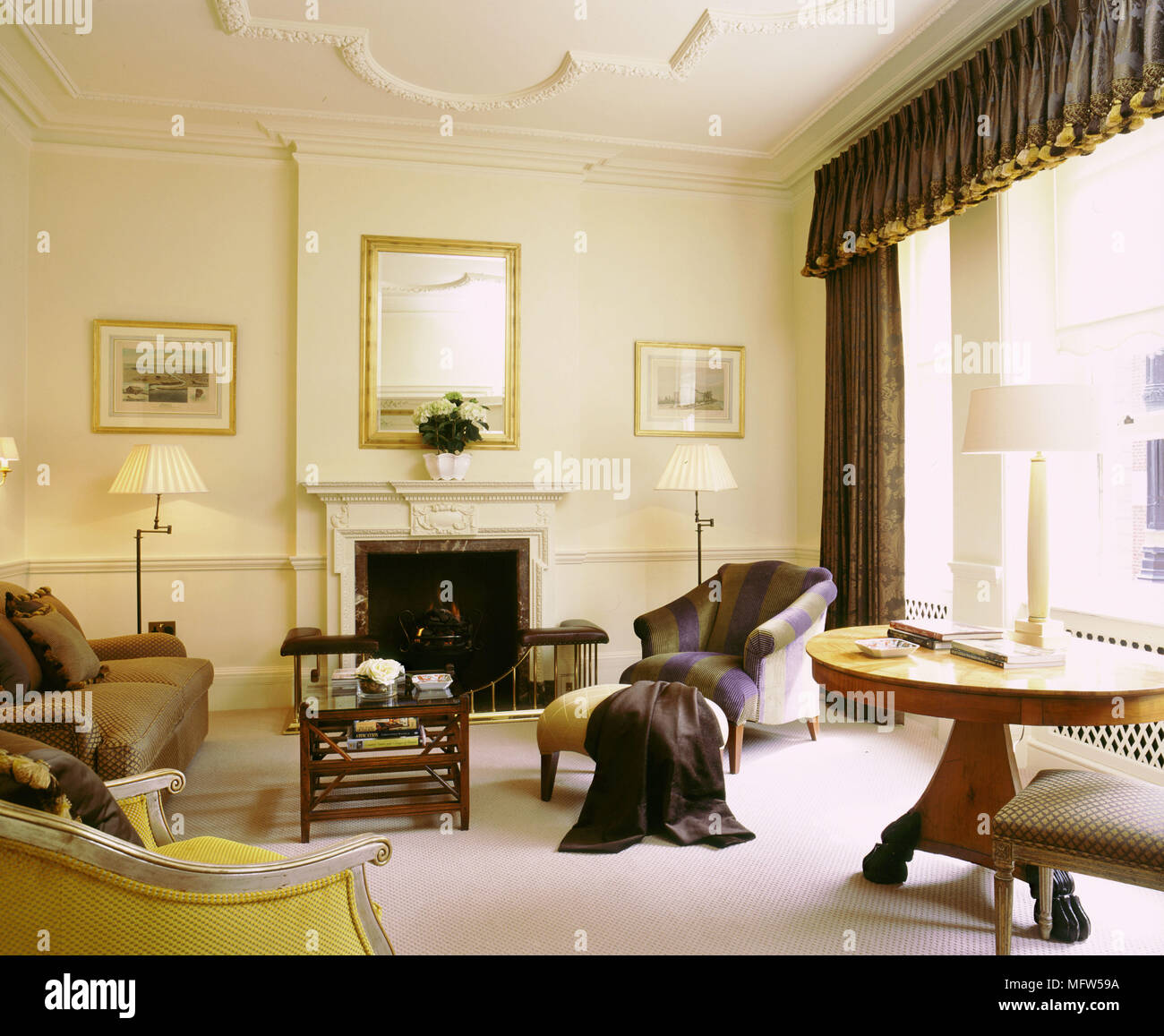 Traditional Cream Sitting Room High Ceilings Curtains