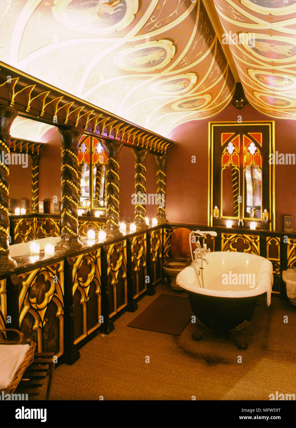 Traditional Red Bathroom Gold Decoration Freestanding Roll Top Bath Painted Ceiling Interiors Bathrooms Rich Grand Dramatic