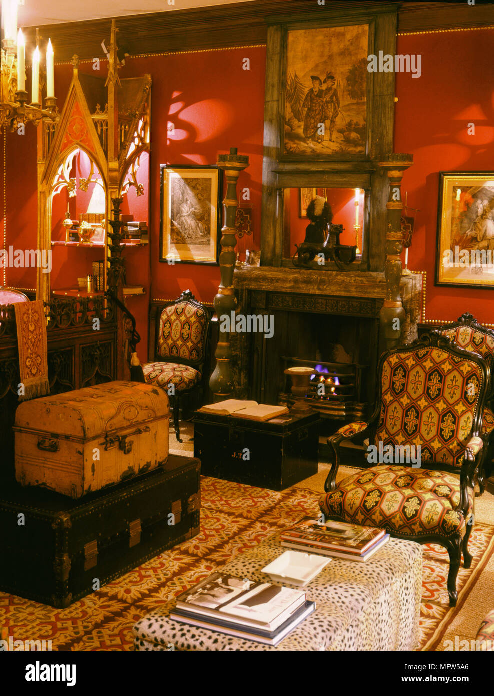 Traditional Red Bedroom Detail Fireplace Upholstered Armchairs