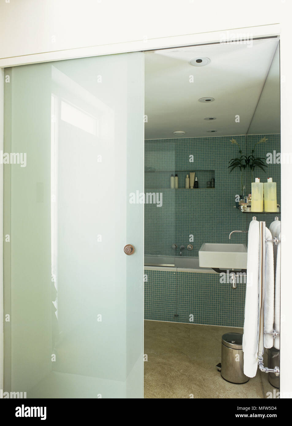 View Through Sliding Door To Washbasin And Bathtub Stock Photo