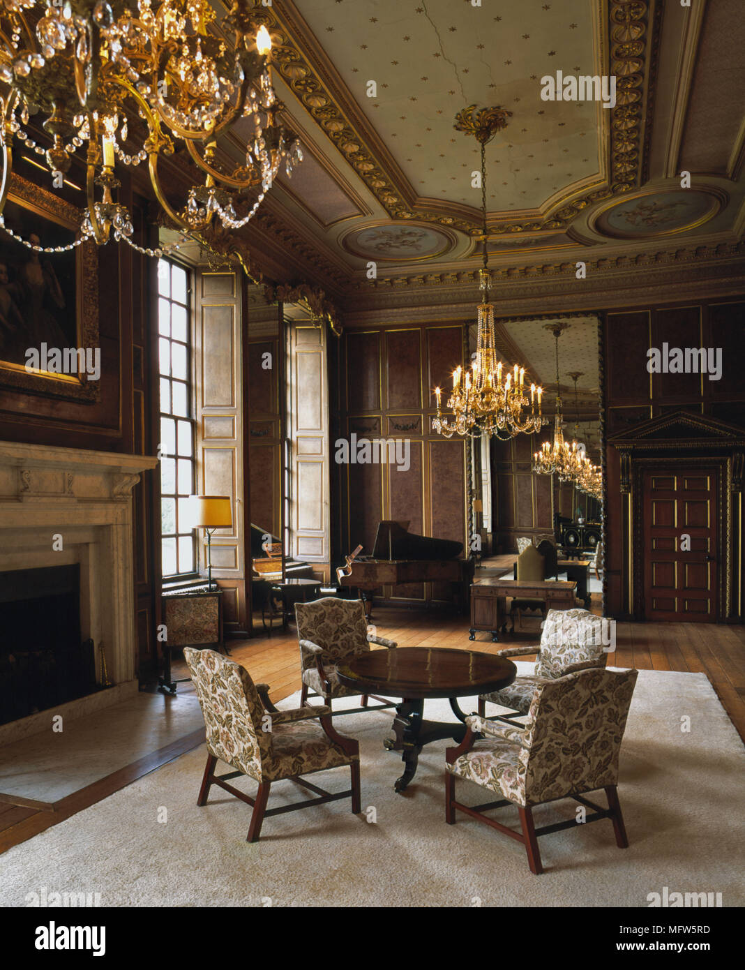 A Traditional Grand Drawing Room Ornate Ceiling Wood