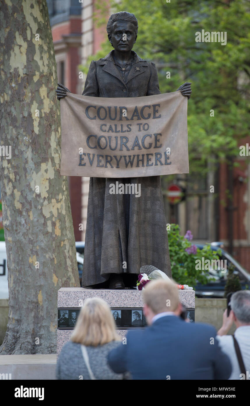 Suffragist Dame Millicent Fawcett statue in Parliament Square, London, UK by Gillian Wearing, April 2018. - Stock Image