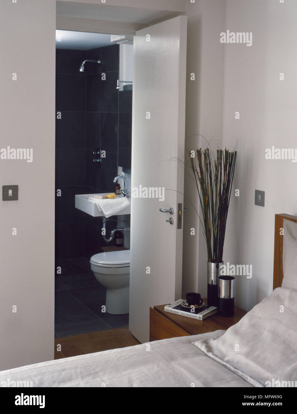 Bathroom With Open Area Next To Shower