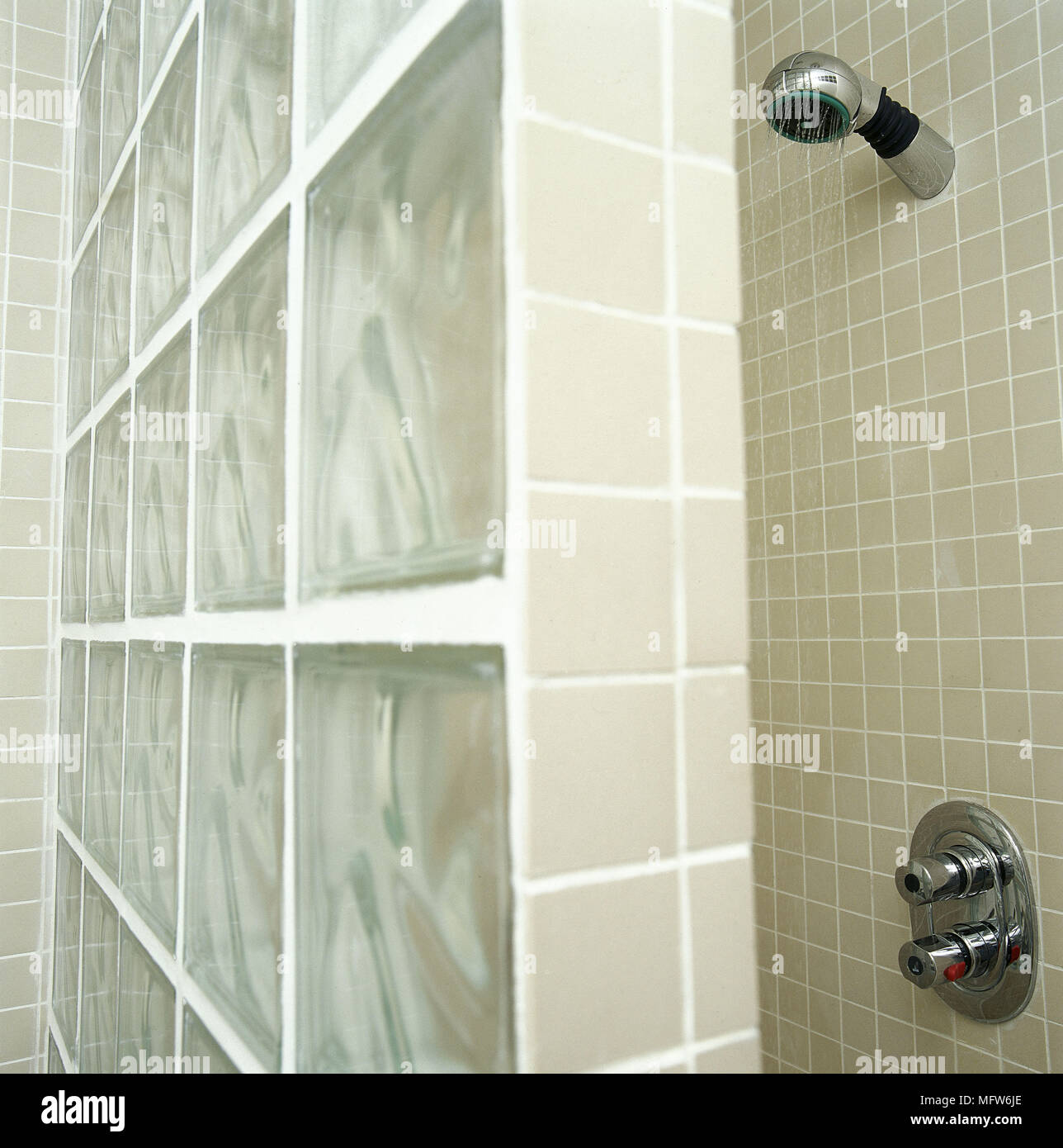 Modern Bathroom Detail Mosaic Tiles Shower Area Glass Block Wall Screen  Interiors Bathrooms Showers Tiling Tiled