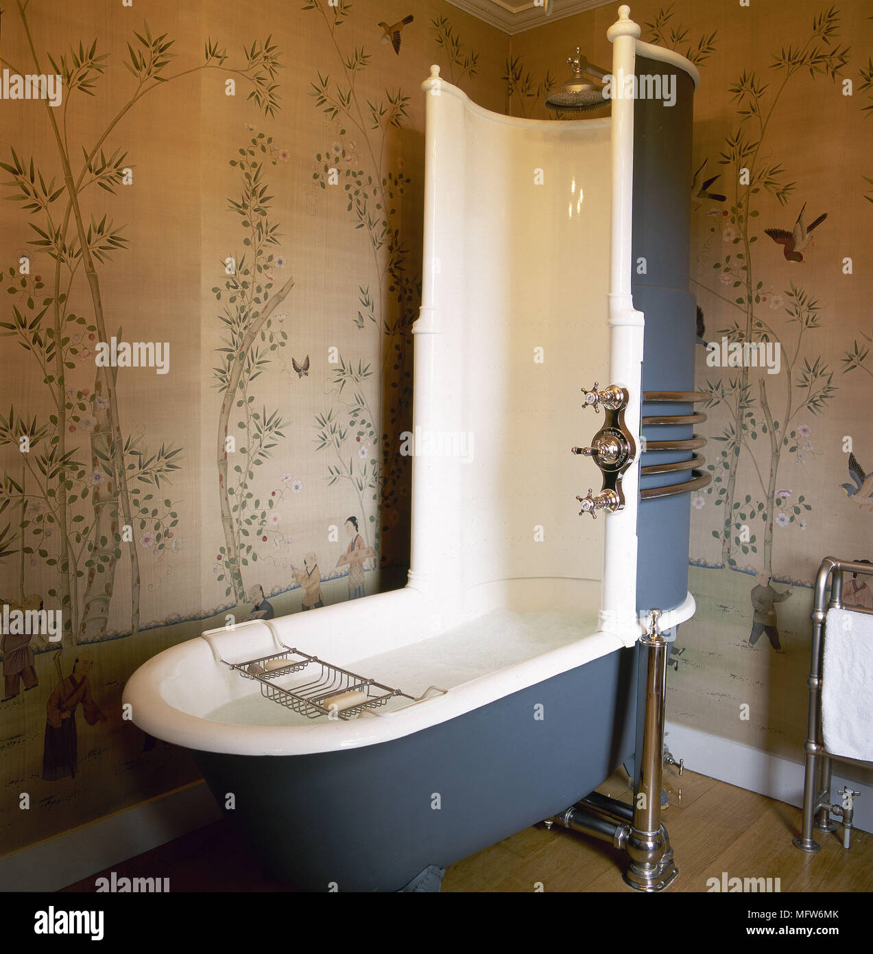 Traditional Bathroom With Scenic Wallpaper Wood Floor And A