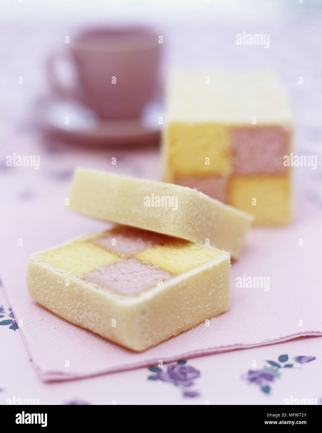 A detail of slices of Battenburg cake - Stock Image