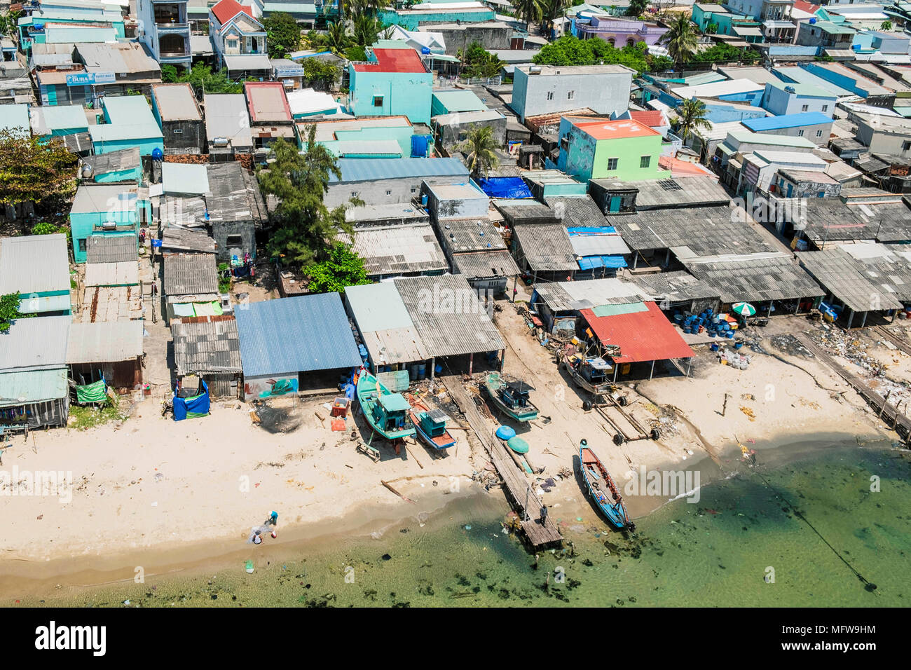 Aerial view of poor housing in An Thoi fishing village, southern Phu Quoc island, Vietnam - Stock Image