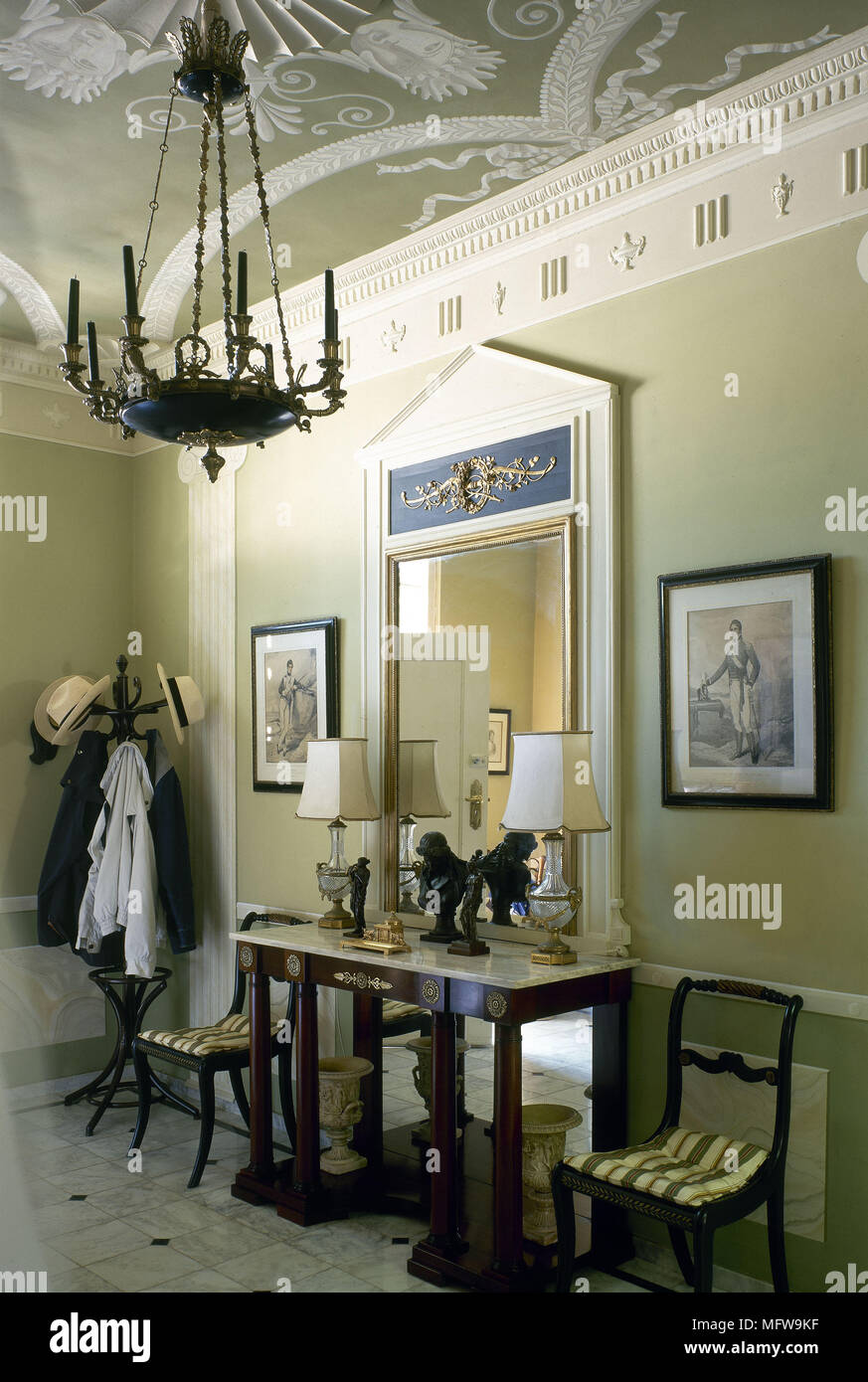 hallway table and mirror. Traditional Green Hallway Table Chairs Mirror Chandelier Interiors Halls Hallways Grand Period Furniture Features Plasterwork Cornice And E