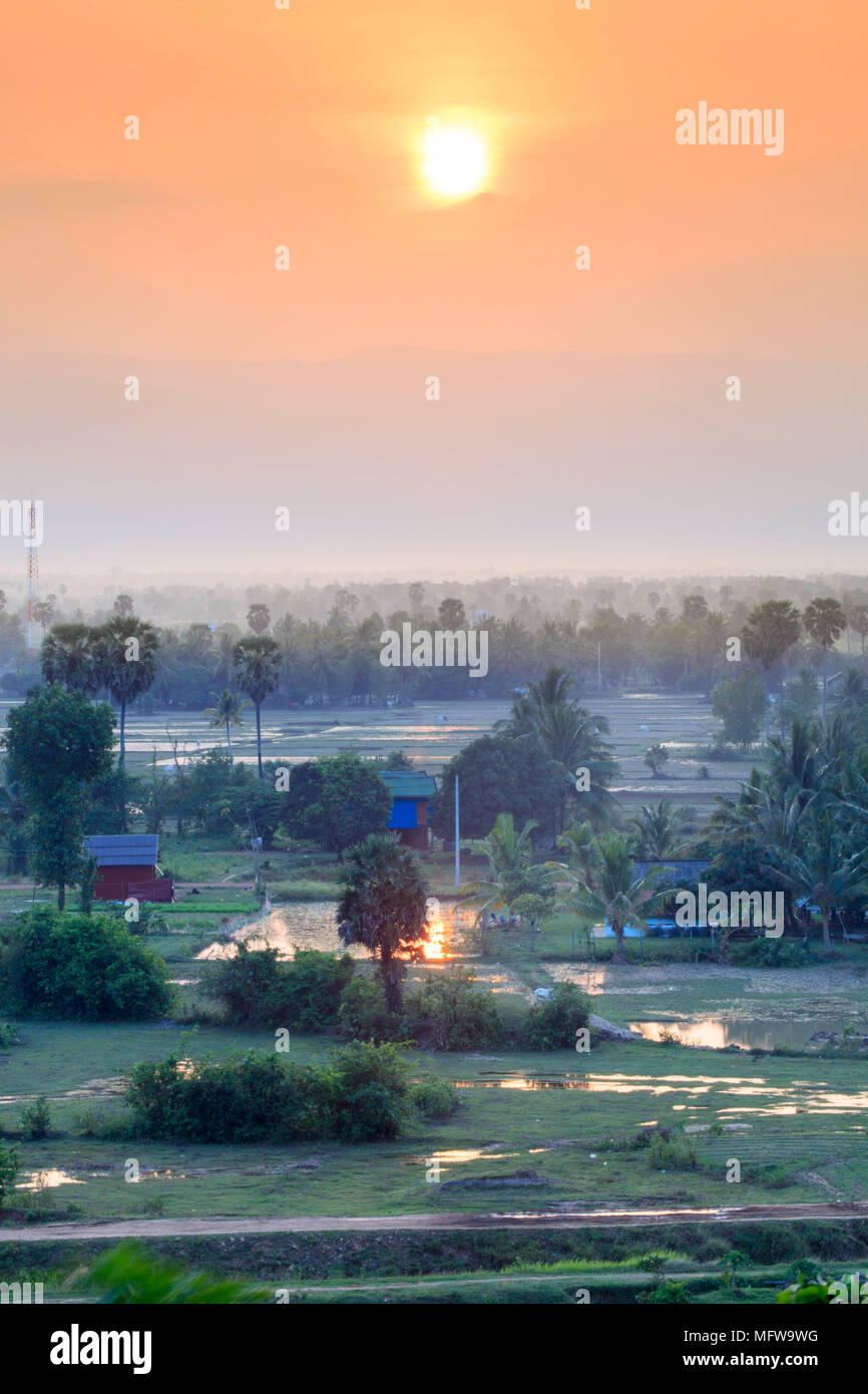 Rural landscape in southern Cambodia near Kampot - Stock Image