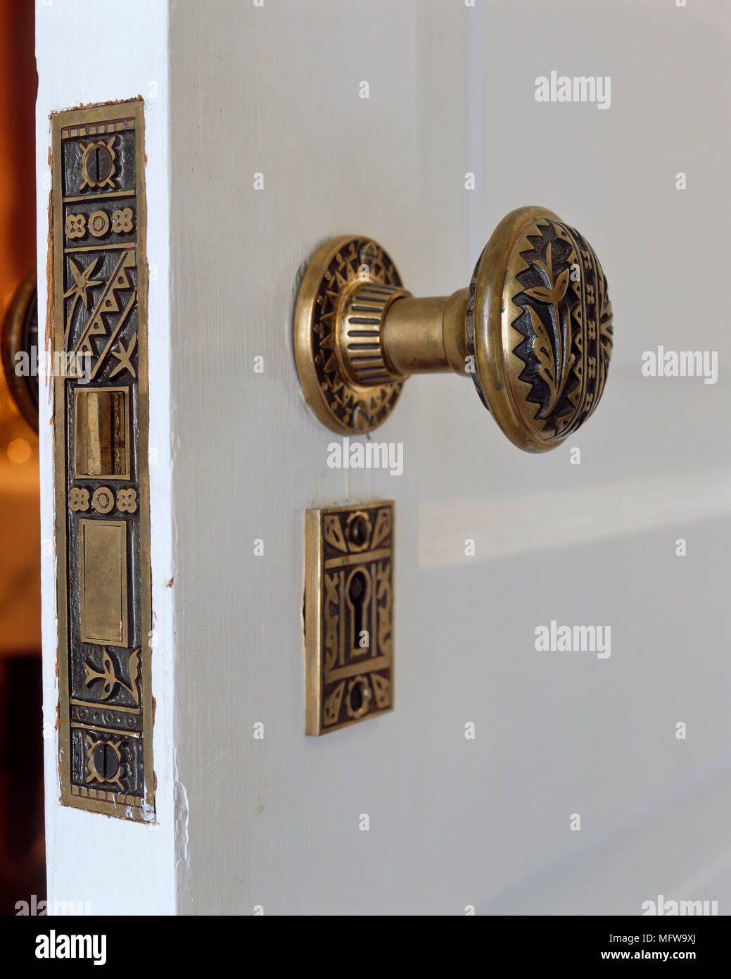 Close Up Detail Of Decorative Brass Door Handle