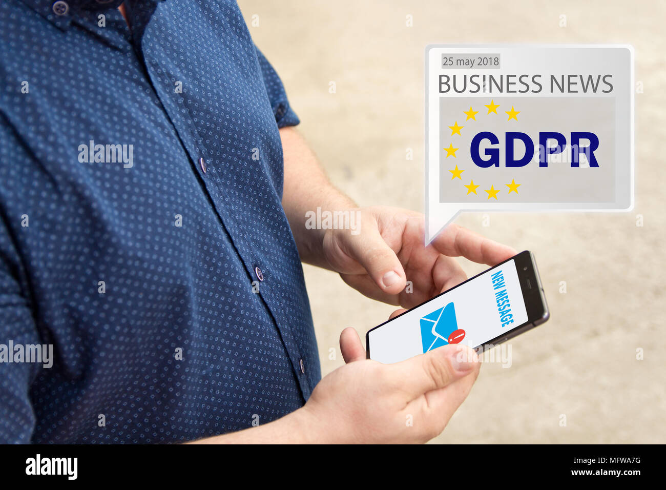 GDPR Message received an e-mail online on a mobile phone.  Sending Message online . The concept of familiarization of people with the GDPR - Stock Image