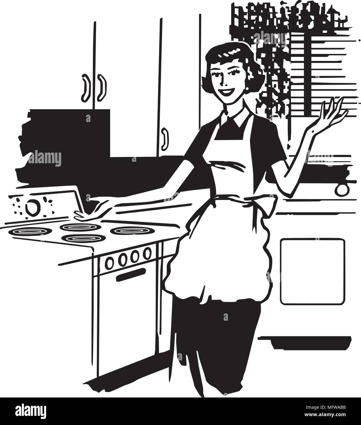Modern Housewife Retro Clipart Illustration Stock Vector Image Art Alamy