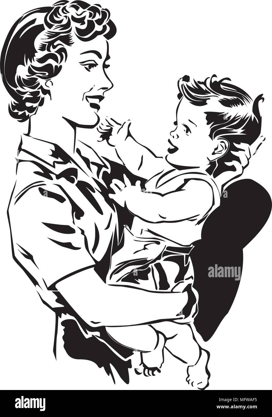 Mom Holding Baby Retro Clipart Illustration Stock Vector Image Art Alamy