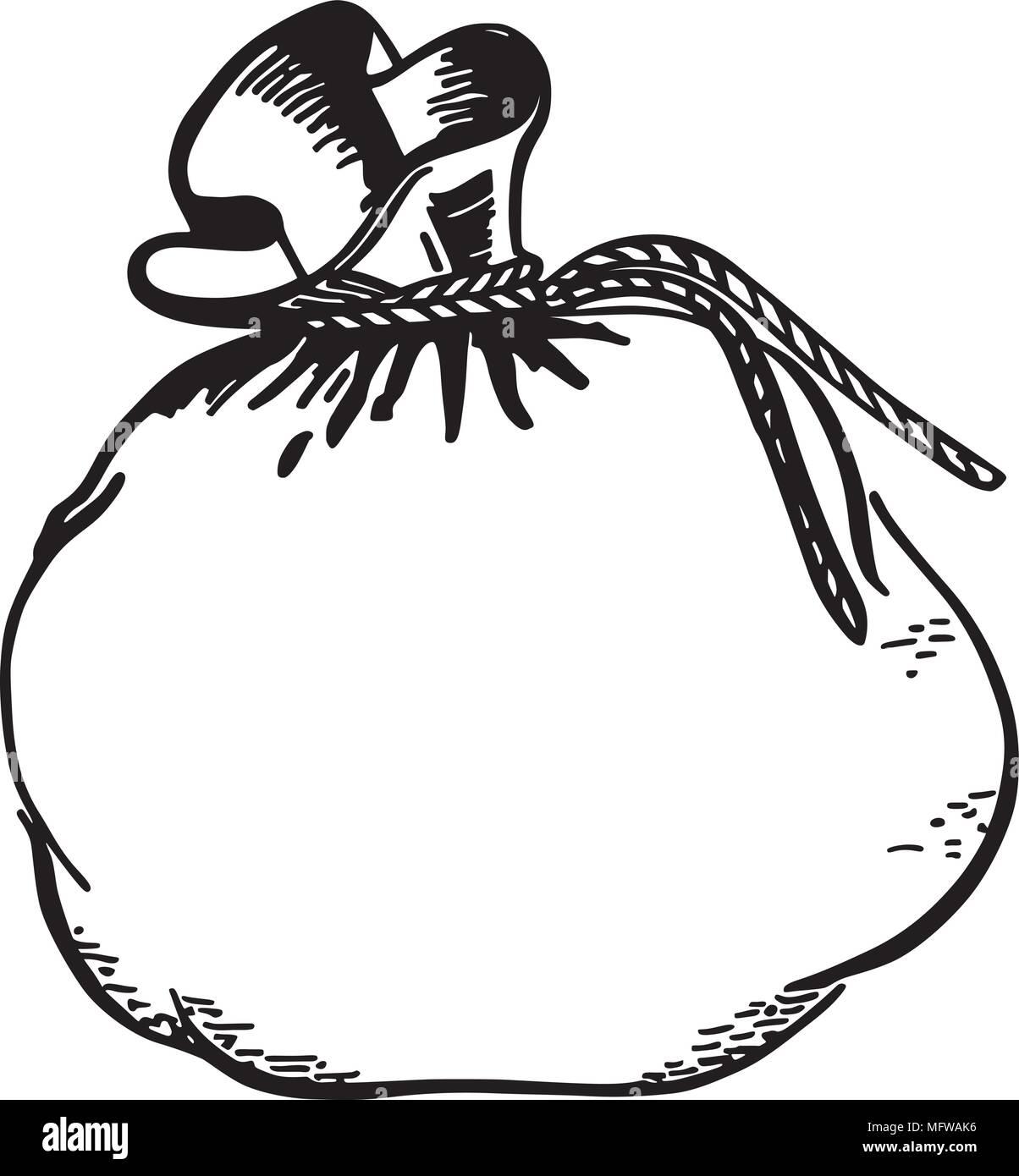 Money Bag - Retro Clipart Illustration - Stock Vector