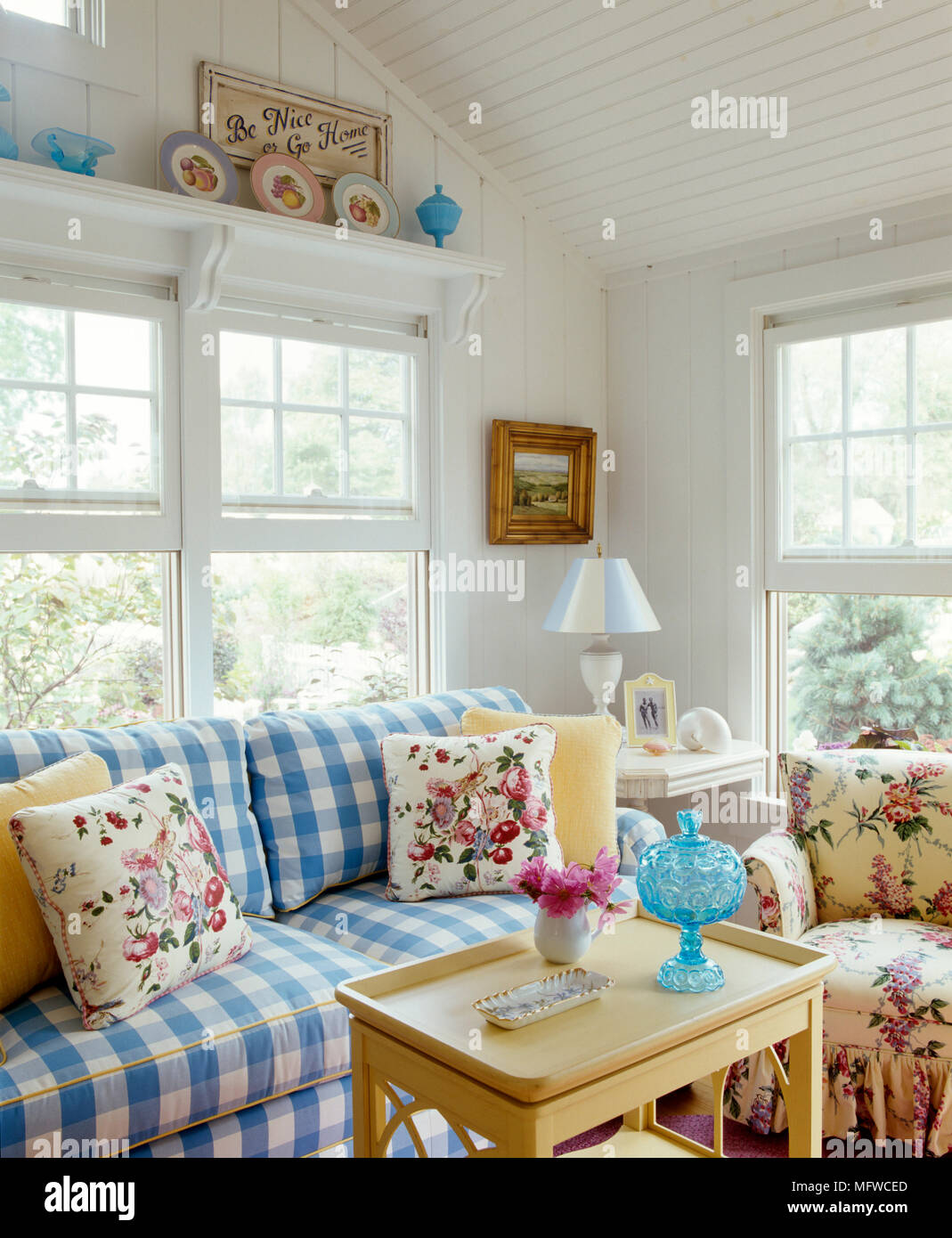 Blue Check Sofa In White Country Style Sitting Room Stock Photo