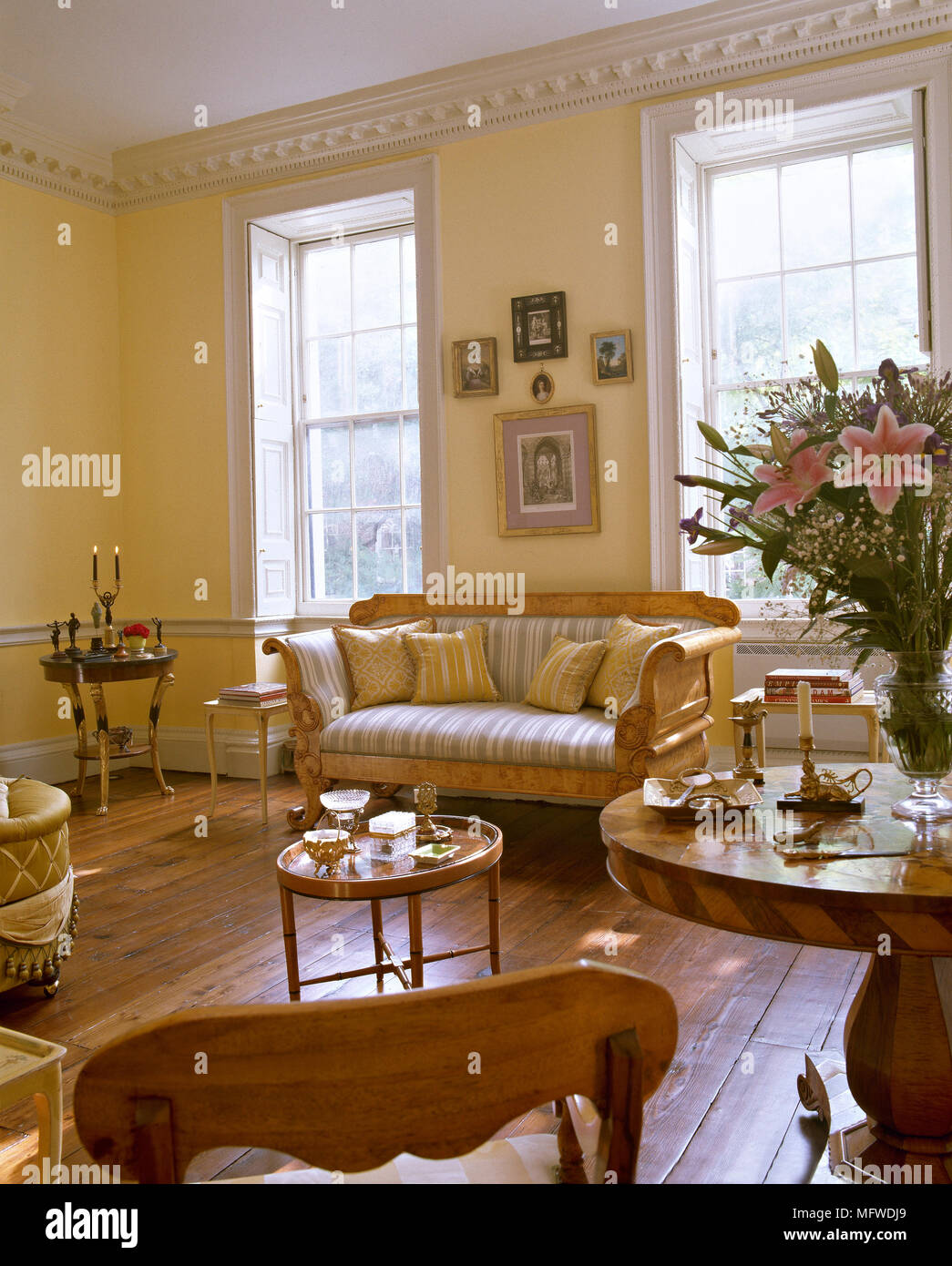 Yellow Sitting Room With Wood Floor Biedermeier Sofa With